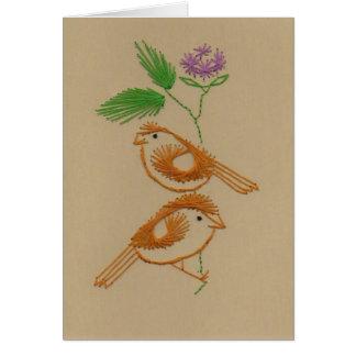 Crafty Brown Birds Greeting Card