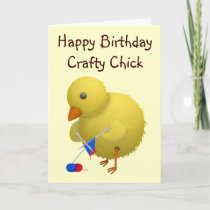 Crafty Chick Cartoon Chicken Birthday Card