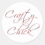 Crafty Chick Classic Round Sticker