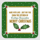 """Crafty Christmas Made With Love (green) Square Sticker<br><div class=""""desc"""">Festive and fun Christmas stickers for all your homemade goodies</div>"""