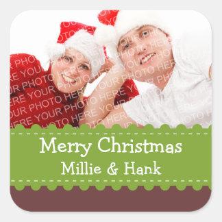 Crafty Green ribbon photo Merry Christmas sticker