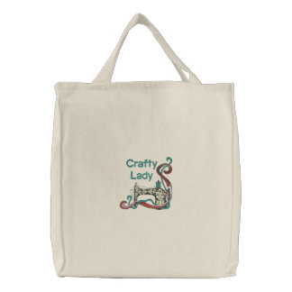 Crafty Lady Sewing Embroidered Tote Bag