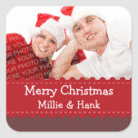 "Crafty red ribbon photo Merry Christmas sticker<br><div class=""desc"">Your holiday gifts and packages will be ultra special with these customized photo gift tags. Sticker features your photo behind a green ribbon. Customize with your greeting and name. These festive holiday labels are perfect for gift bags,  boxes,  candy bags,  mint tins,  jars and more!</div>"