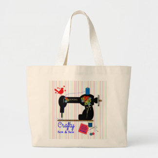 Crafty Sew And Sew Vintage Sewing Machine Large Tote Bag
