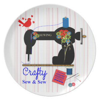 Crafty Sew And Sew Vintage Sewing Machine Melamine Plate