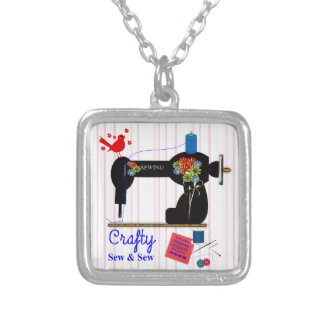 Crafty Sew And Sew Vintage Sewing Machine Silver Plated Necklace