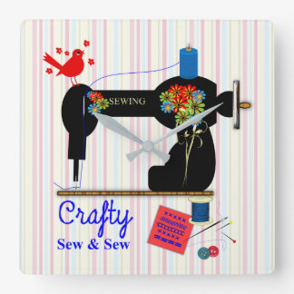 Crafty Sew And Sew Vintage Sewing Machine Square Wall Clock