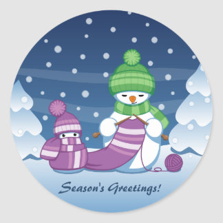 Crafty Snowman Knitting Scarf Classic Round Sticker