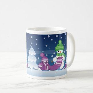 Crafty Snowman Knitting Scarf Coffee Mug