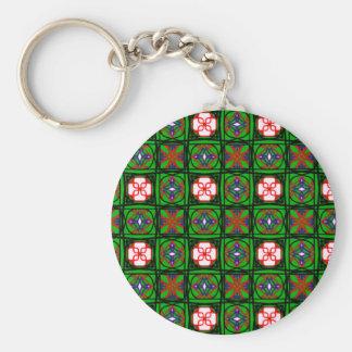Crafty Textile Pattern Basic Round Button Keychain