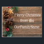 "Crafty Wood Grain Christmas Customize Postcard<br><div class=""desc"">Beautiful creative Christmas postcard that can be customized making it a perfect way to share holiday greetings with family and friends.  The personalization options let you customize your Xmas card to send whatever message you want.  Merry Christmas!  Happy Holidays!</div>"