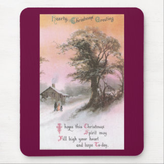 Craggy Tree in Winter Under Pinkish Orange Sky Mouse Pad