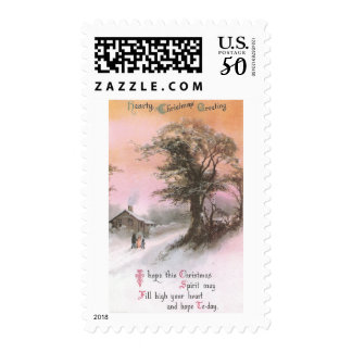Craggy Tree in Winter Under Pinkish Orange Sky Postage