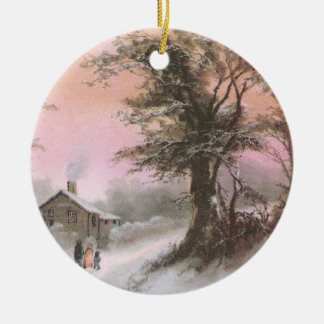 Craggy Tree in Winter Vintage Christmas Ornaments