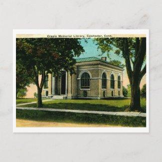 Cragin Library, Colchester CT Vintage zazzle_postcard