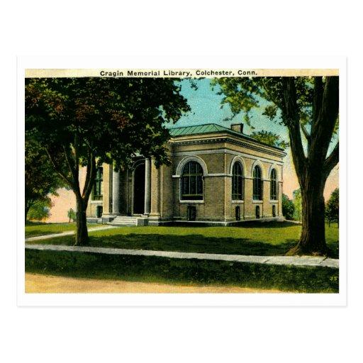 Cragin Library, Colchester CT Vintage Postcard