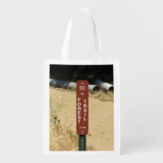 Crags Road To Forest Trail Sign Reusable Grocery Bag