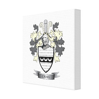 Craig Family Crest Coat of Arms Canvas Print