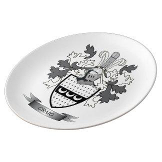 Craig Family Crest Coat of Arms Porcelain Plate