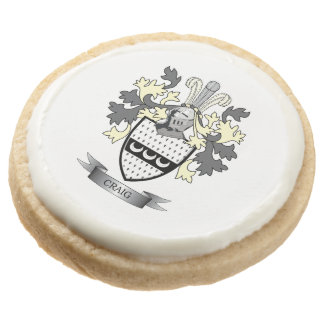Craig Family Crest Coat of Arms Round Shortbread Cookie