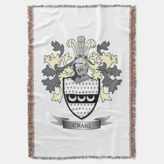 Craig Family Crest Coat of Arms Throw