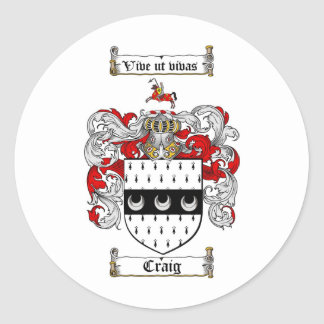 CRAIG FAMILY CREST -  CRAIG COAT OF ARMS CLASSIC ROUND STICKER