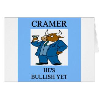 cramer  stock market investing joke card
