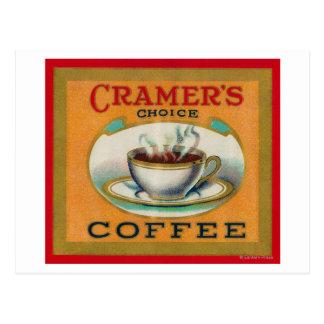Cramer's Choice Coffee Label Postcard