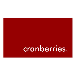 cranberries. business card
