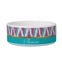 Cranberry and Teal iKat ZigZag Pattern Bowl