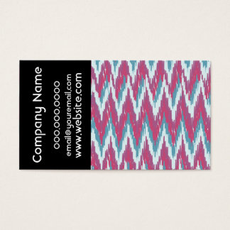 Cranberry and Teal iKat ZigZag Pattern Business Card
