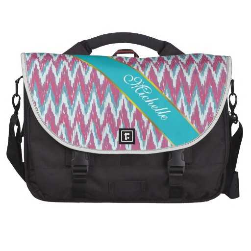 Cranberry and Teal iKat ZigZag Pattern Laptop Computer Bag
