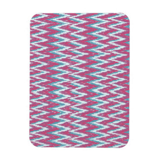 Cranberry and Teal iKat ZigZag Pattern Magnet