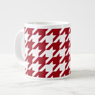 Cranberry and White Large Houndstooth Pattern 20 Oz Large Ceramic Coffee Mug
