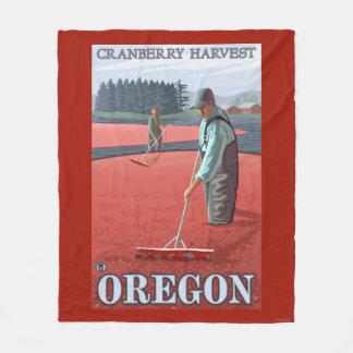 Cranberry Bogs Harvest Vintage Travel Poster Fleece Blanket