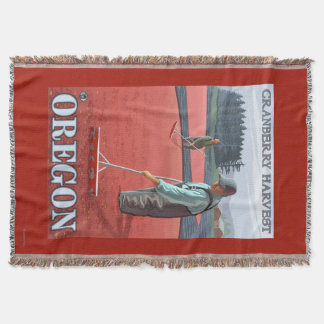 Cranberry Bogs Harvest Vintage Travel Poster Throw