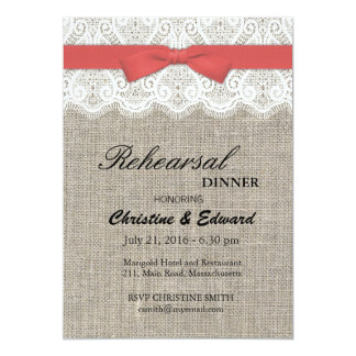 Cranberry Bow and Lace Wedding Rehearsal Dinner 5x7 Paper Invitation Card