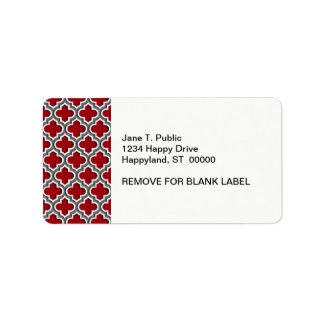 Cranberry Charcoal White Moroccan Quatrefoil #5DS Address Label