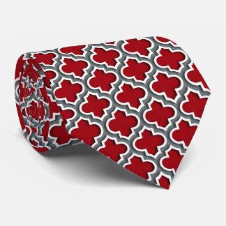 Cranberry Charcoal White Moroccan Quatrefoil #5DS Neck Tie