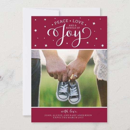 cranberry christmas pregnancy announcement card zazzle com