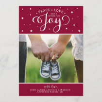 Cranberry Christmas Pregnancy Announcement Card