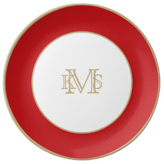 Cranberry Christmas Red Quilted Pattern Porcelain Plates