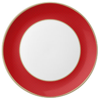 Cranberry Christmas Red Quilted Pattern Porcelain Plate