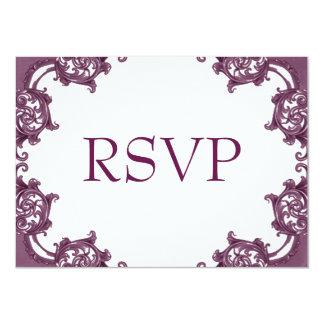 Cranberry Damask Edge RSVP Card