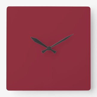 Cranberry Dark Red Solid Trend Color Background Square Wall Clocks
