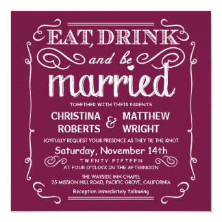 Cranberry Eat Drink be Married Wedding Invites