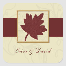 cranberry fall leaf fall autumn wedding square sticker