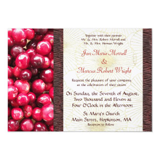 "Cranberry Fall Wedding Invitation 5"" X 7"" Invitation Card"
