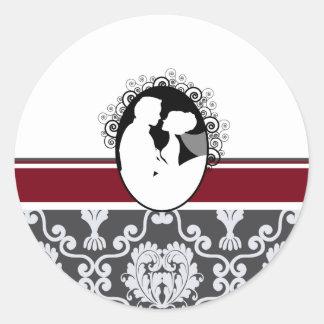 Cranberry First Kiss Wedding Seal Classic Round Sticker
