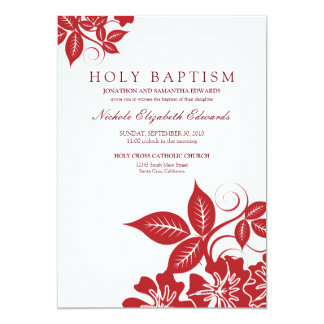 "Cranberry Floral Holy Baptism Invitation 5"" X 7"" Invitation Card"